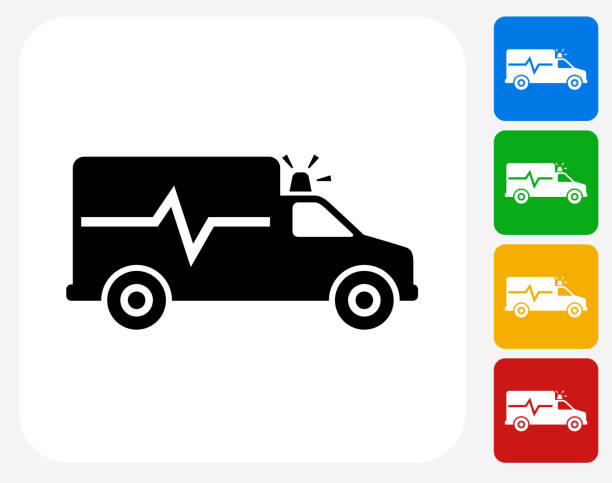 Ambulance Icon Flat Graphic Design vector art illustration