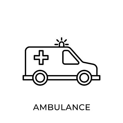 Ambulance icon vector illustration. Ambulance vector icon template. Ambulance icon design isolated on white background. Ambulance vector icon flat design for website, logo, sign, symbol, app, UI.
