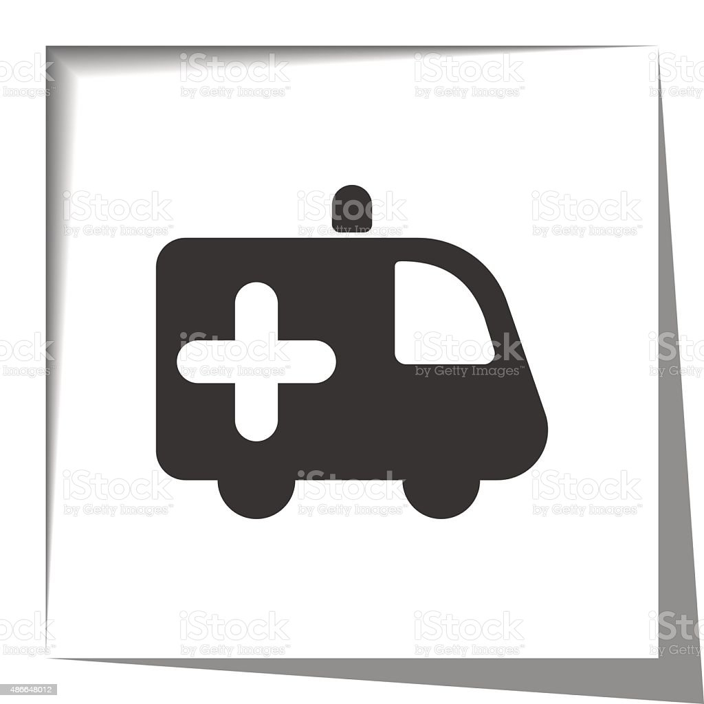 Ambulance icon with cut out shadow effect vector art illustration