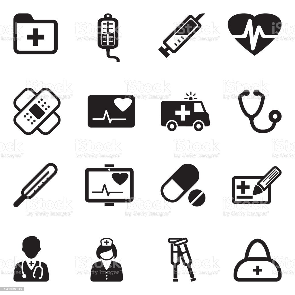 Ambulance Icons. Black Flat Design. Vector Illustration. vector art illustration