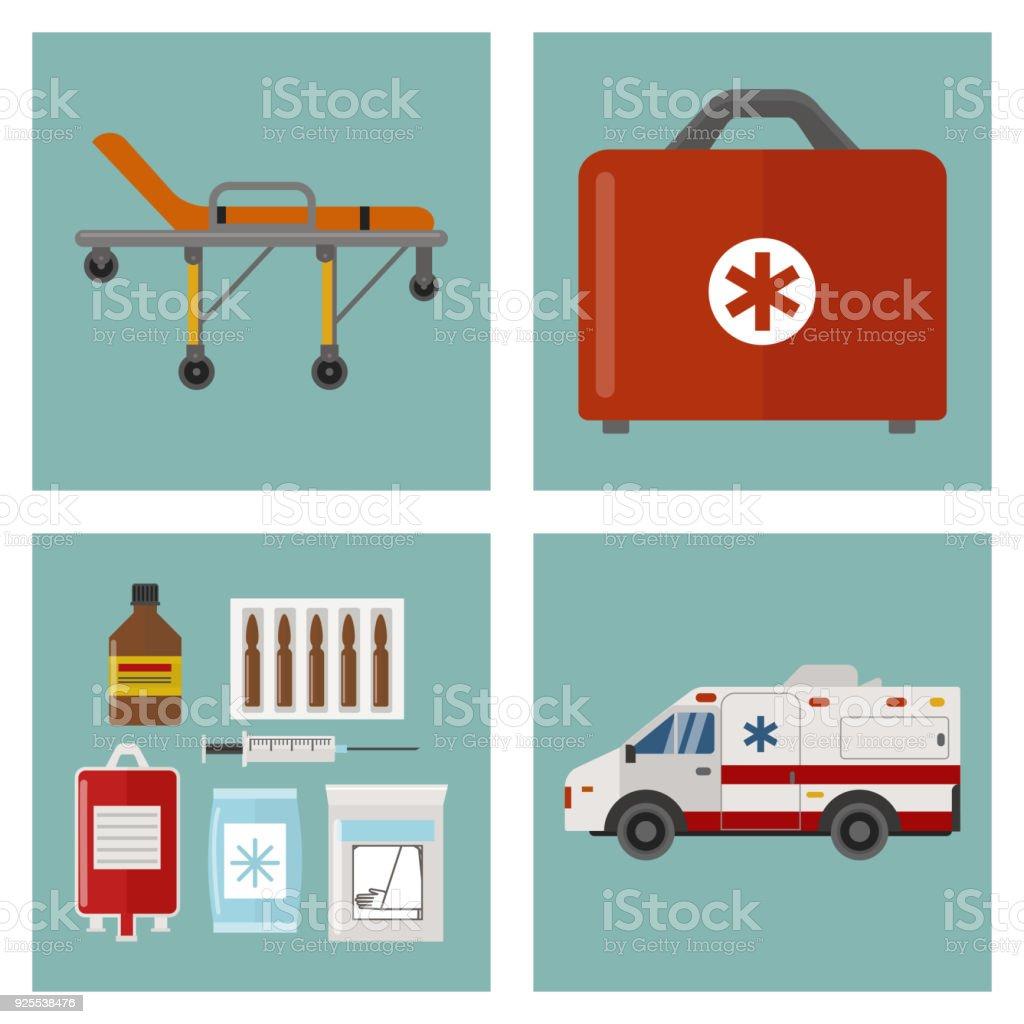 Ilustración de Ambulancia Los Iconos Medicina Salud