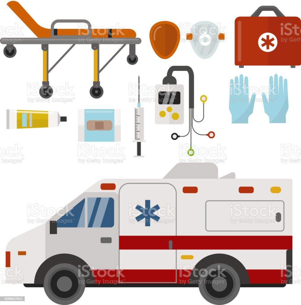 Ambulance icons medicine health emergency hospital urgent pharmacy medical support paramedic treatment vector illustration vector art illustration
