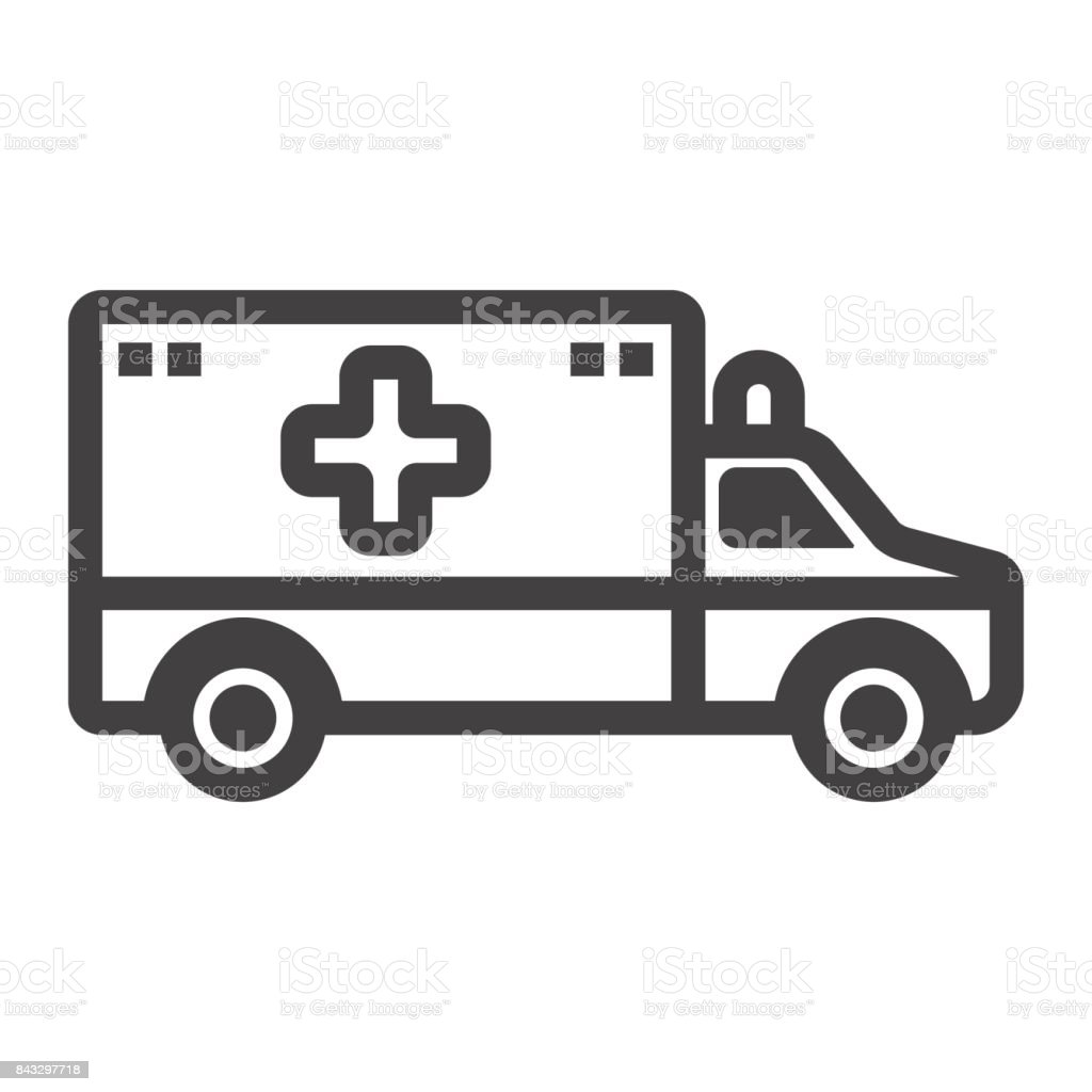 Ambulance line icon, medicine and healthcare, transport sign vector graphics, a linear pattern on a white background, eps 10. vector art illustration
