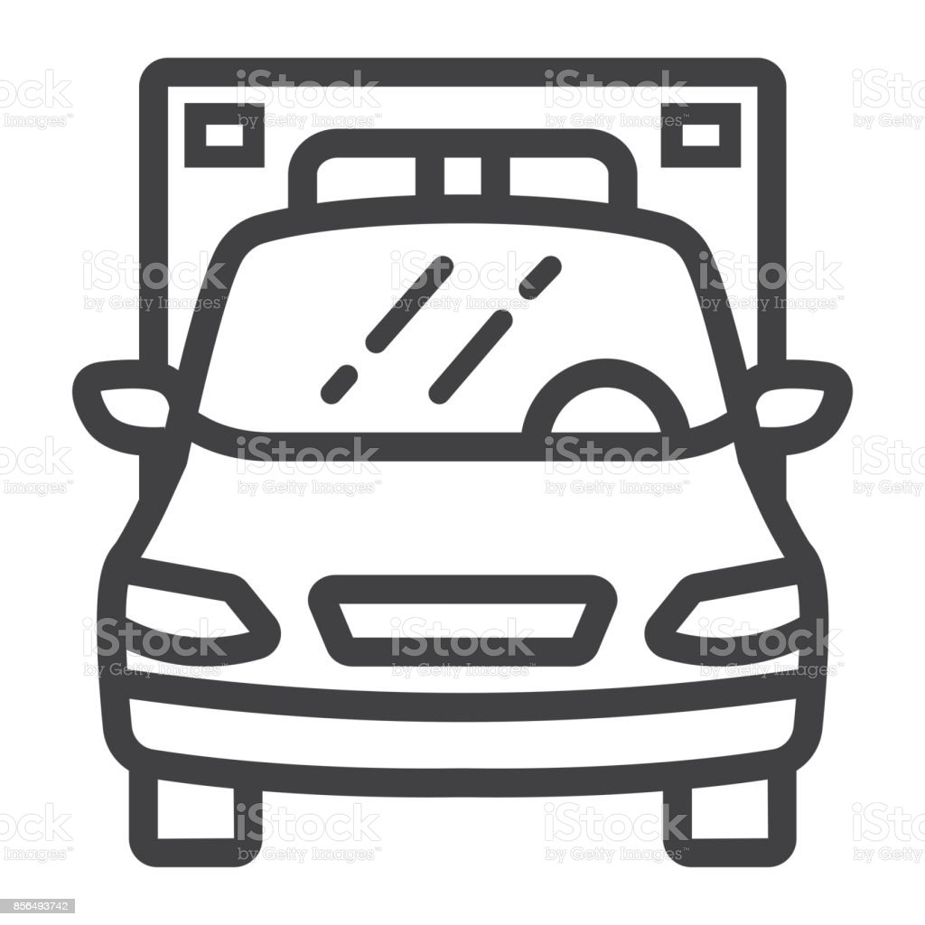 Ambulance line icon, transport and vehicle, emergency sign vector graphics, a linear pattern on a white background, eps 10. vector art illustration