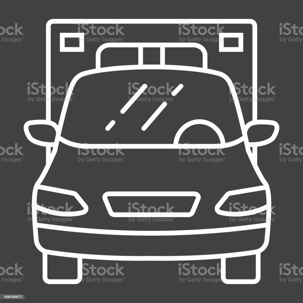 Ambulance line icon, transport and vehicle, emergency sign vector graphics, a linear pattern on a black background, eps 10. vector art illustration