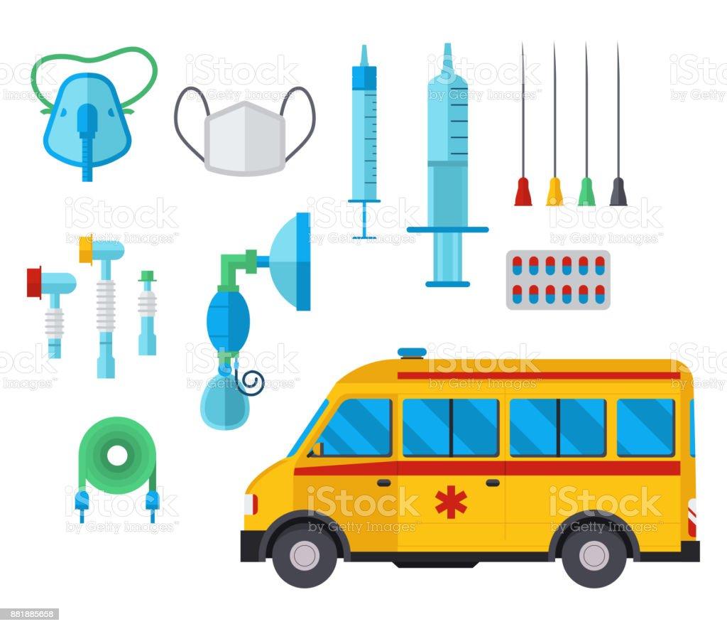 Ambulance medicine health emergency car vector hospital urgent pharmacy medical support paramedic treatment illustration vector art illustration