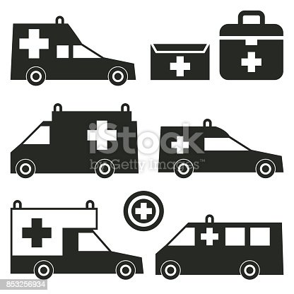 Ambulance Or Emergency Cars Signs Or Symbols Stock Vector Art More