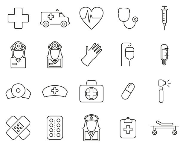 Ambulance or Emergency Response Team Icons Thin Line Set Big Ambulance or Emergency Response Team Icons Thin Line Set BigThis image is a illustration and can be scaled to any size without loss of resolution. emergency response stock illustrations