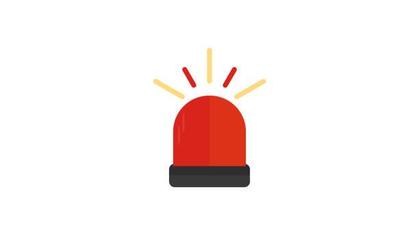 ilustraciones, imágenes clip art, dibujos animados e iconos de stock de ambulancia, icono plano police siren - alarma