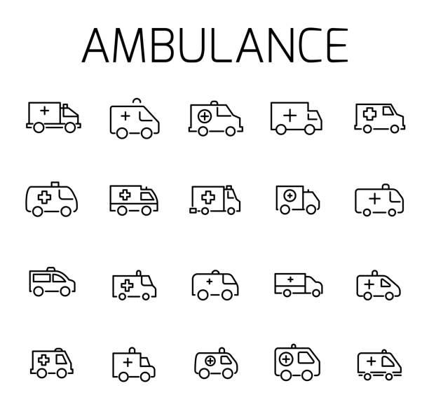 illustrazioni stock, clip art, cartoni animati e icone di tendenza di ambulance related vector icon set. - deadly sings