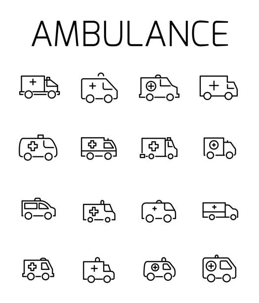 Ambulance related vector icon set. vector art illustration