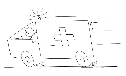 Ambulance Responding to Emergency, Vector Cartoon Stick Figure Illustration