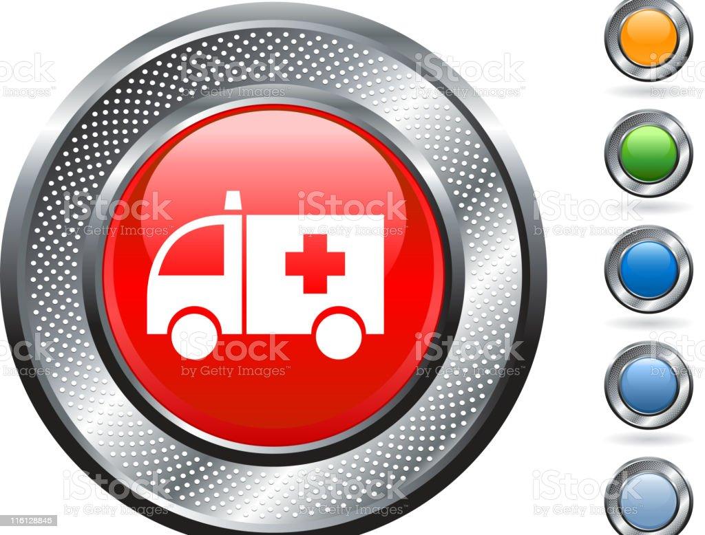 ambulance royalty free vector art on metallic button royalty-free stock vector art