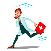 Ambulance, Running Doctor Man With First Aid Box Vector. Isolated Illustration