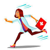 Ambulance, Running Doctor Woman With First Aid Box Vector. Isolated Illustration