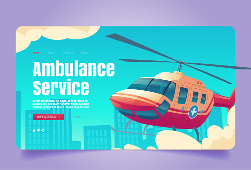 Ambulance service banner with red helicopter