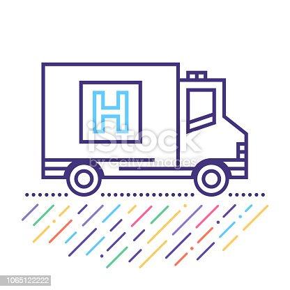 Line vector icon illustration of private ambulance service.