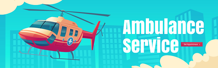 Ambulance service web banner with medic helicopter