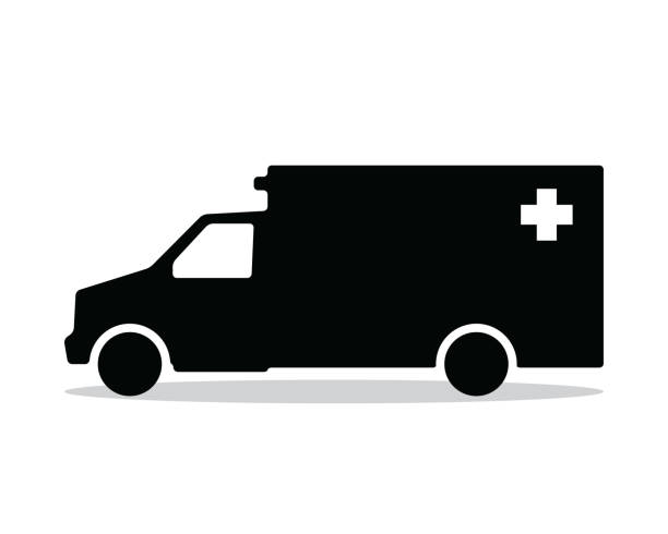 ambulance silhouette design illustration, silhouette style design vector art illustration