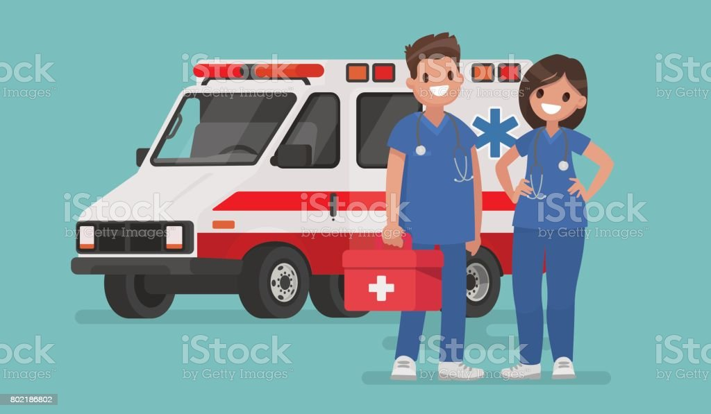 Ambulance staff. Couple of doctors. Vector illustration in a flat style vector art illustration