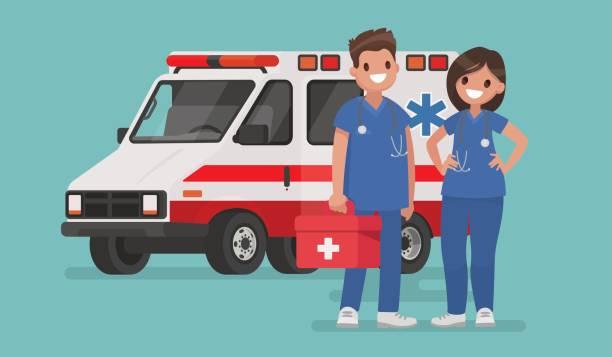 救急車のスタッフ。医師のカップル。フラット スタイルのベクトル図 - 救急救命士点のイラスト素材/クリップアート素材/マンガ素材/アイコン素材