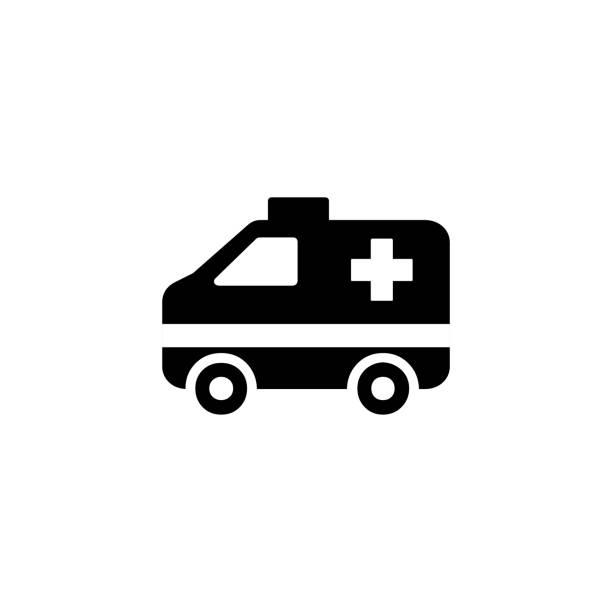 stockillustraties, clipart, cartoons en iconen met ambulance vector pictogram. geïsoleerde ambulance auto platte emoji, emoticon symbool - vector - stickers met relief