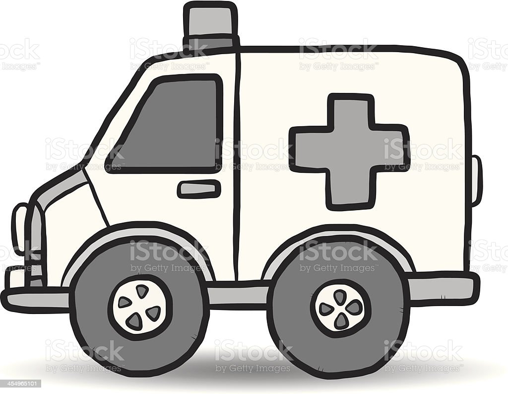 ambulance vehicle cartoon vector art illustration