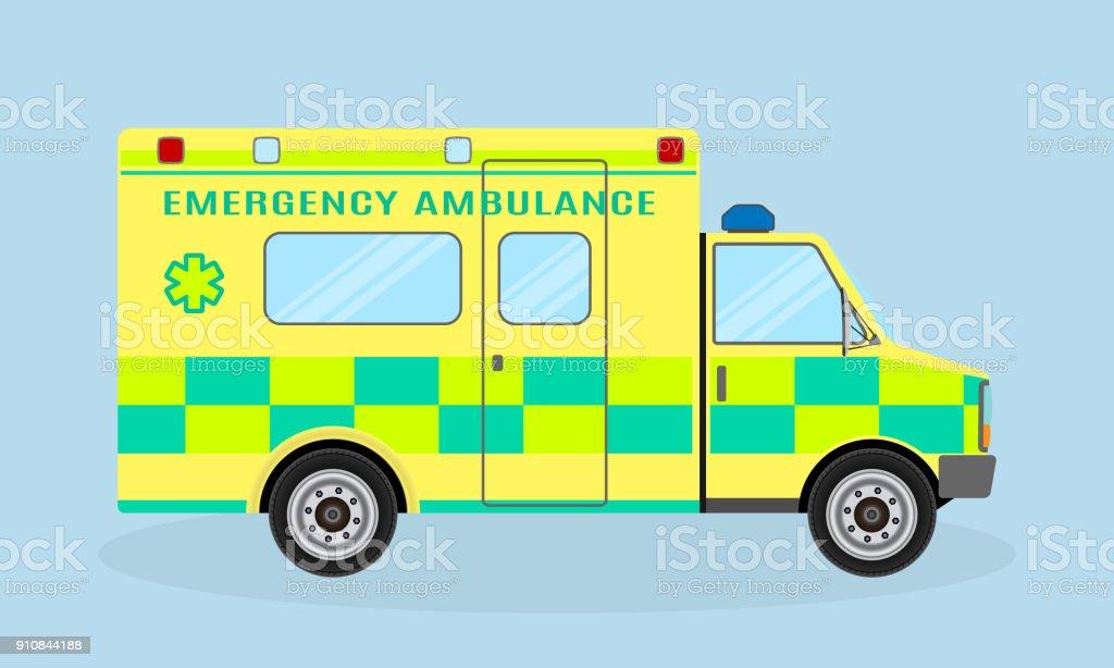 Ambulance vehicle. Emergency medical service car, side view. Paramedics hospital transport with health symbol. vector art illustration
