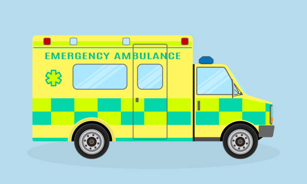 Ambulance vehicle. Emergency medical service car, side view. Paramedics hospital transport with health symbol. vector art illustration