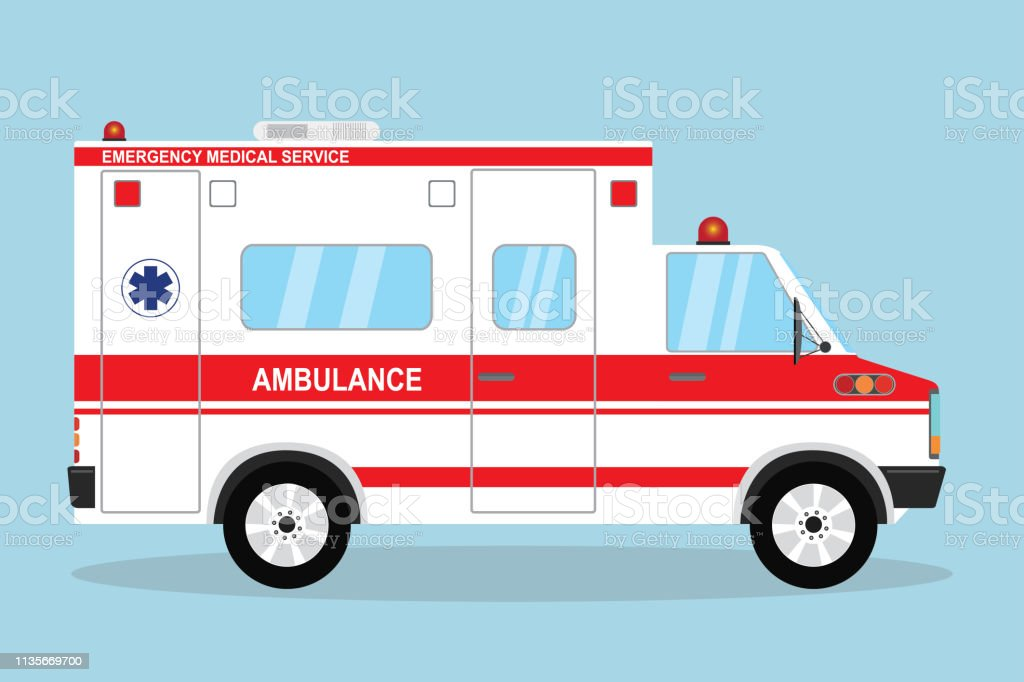 Ambulance vehicle,emergency auto in flat style,vector illustration