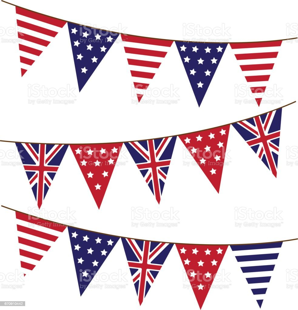 america and england bunting flag stock vector art 670910442 istock
