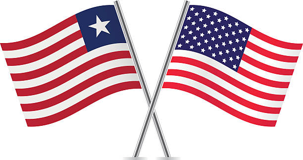 America and Liberia flags. Vector. vector art illustration