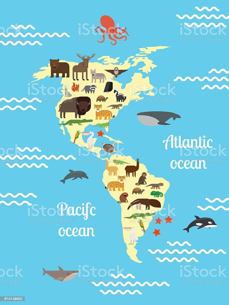 America animals world map for children arte vectorial de stock y america animals world map for children america animals world map for children arte vectorial de gumiabroncs Image collections
