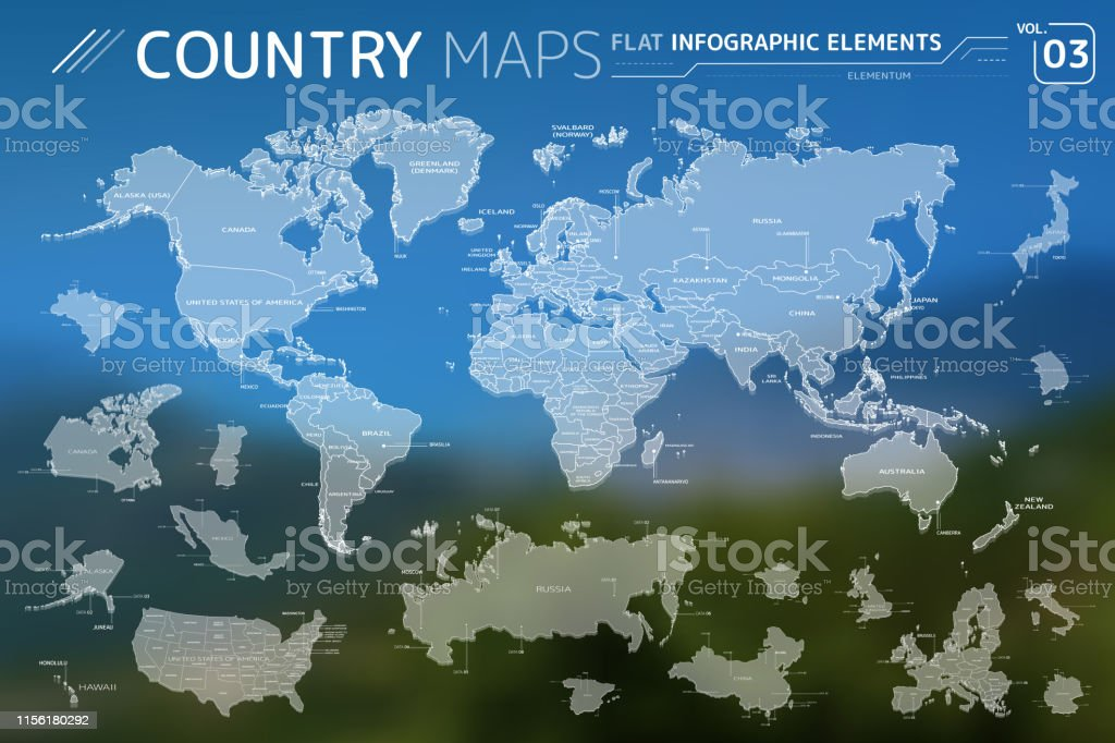America Asia Africa Europe Australia Canada Usa Russia China Mexico Japan Vector Maps Stock Illustration Download Image Now Istock
