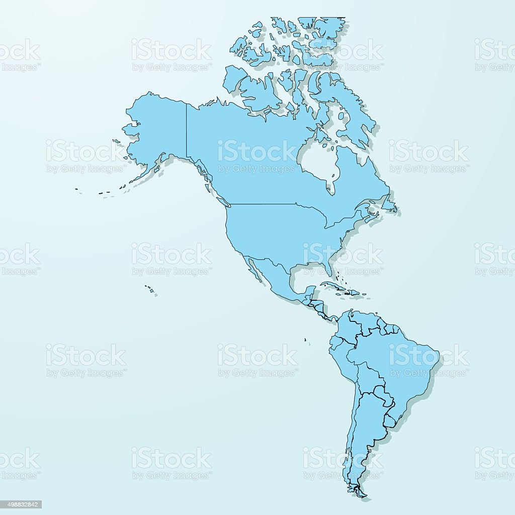 America blue map on degraded background vector royalty-free america blue map on degraded background vector stock illustration - download image now