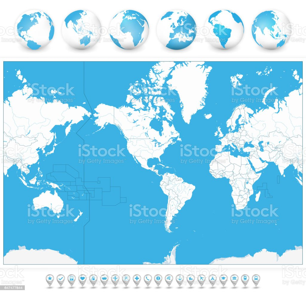 America centered blank world map and 3d globes and navigation icons america centered blank world map and 3d globes and navigation icons royalty free america centered gumiabroncs Choice Image