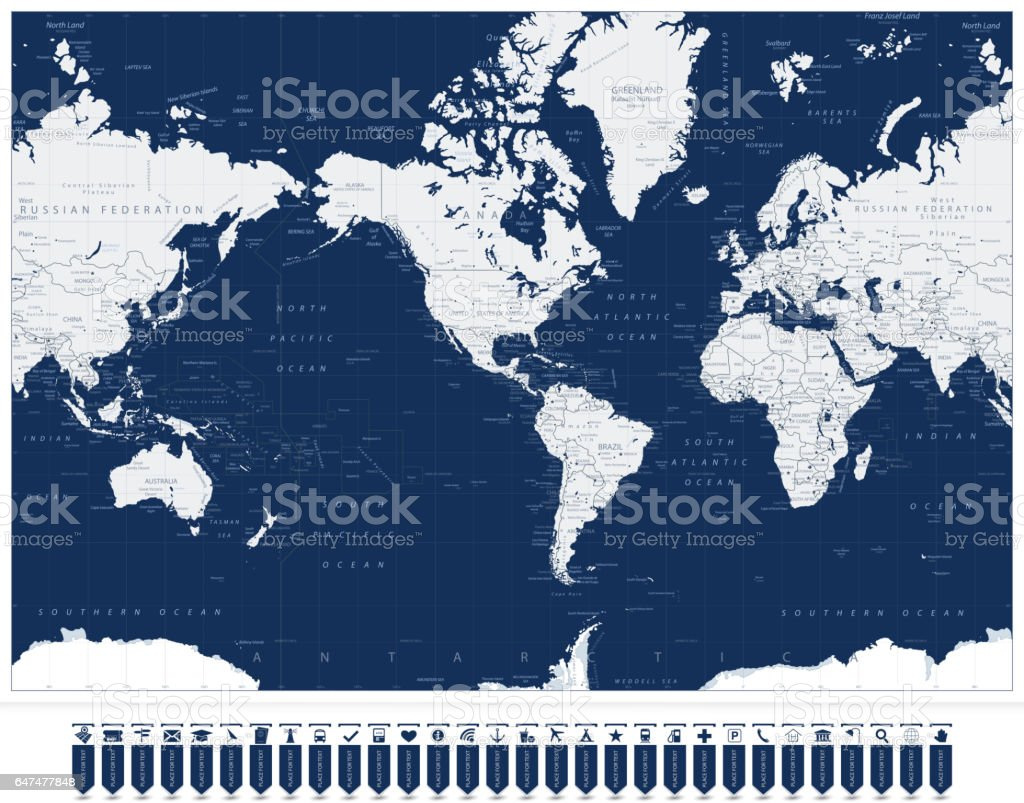 America centered world map and navigation map pointers stock vector america centered world map and navigation map pointers royalty free america centered world map and gumiabroncs Image collections
