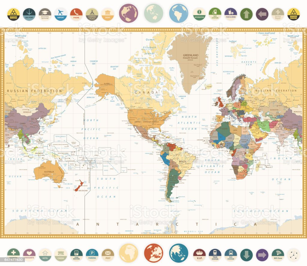 America centered world map with flat icons and globesvintage america centered world map with flat icons and globesntage colors royalty free america gumiabroncs