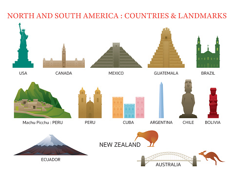 America Continent and Australia Countries Landmarks