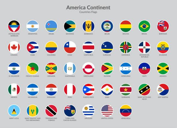 america continent countries flag ikony kolekcji, ikony flagi czatu - american flag stock illustrations