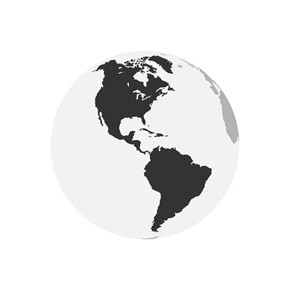 America Continent map. Earth Globe. World Map in circle. Globes web icon. Vector illustration