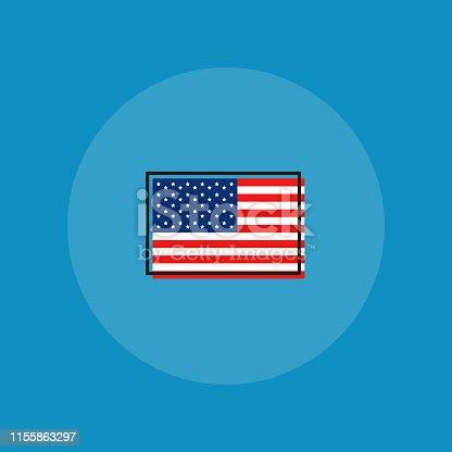 America flag on blue background. Vector flat design