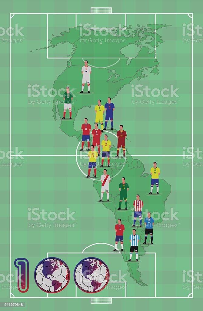 Centenario de fútbol américa - ilustración de arte vectorial
