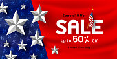 America holiday sale banner background vector illustration