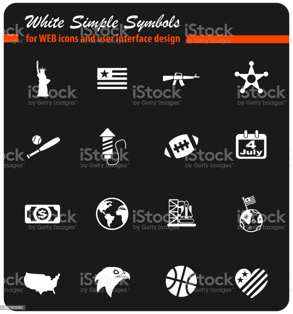 america icon set vector art illustration