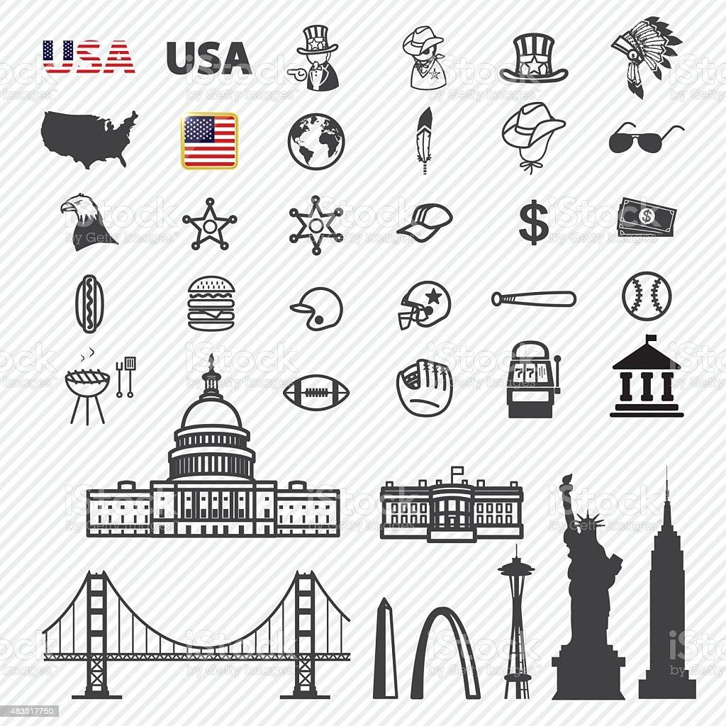 America icons set. illustration eps10 vector art illustration