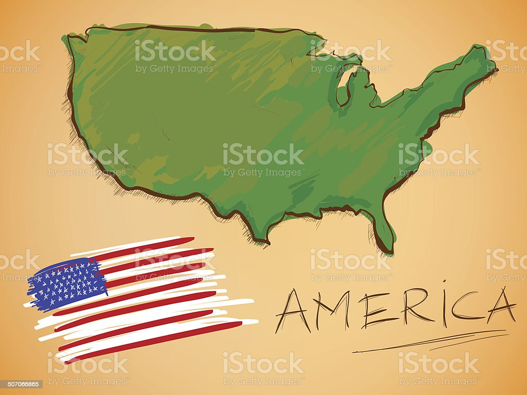 America Map and National Flag Vector vector art illustration