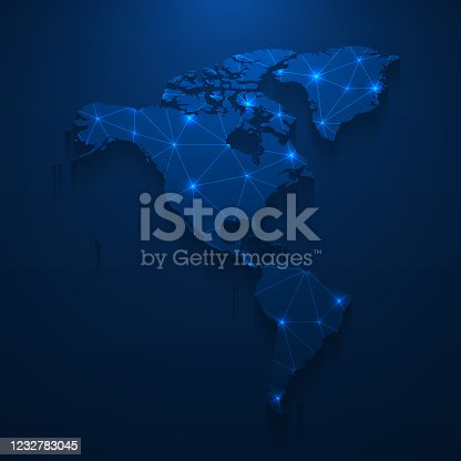 Map of America created with a mesh of thin bright blue lines and glowing dots, isolated on a dark blue background. Conceptual illustration of networks (communication, social, internet, ...). Vector Illustration (EPS10, well layered and grouped). Easy to edit, manipulate, resize or colorize.