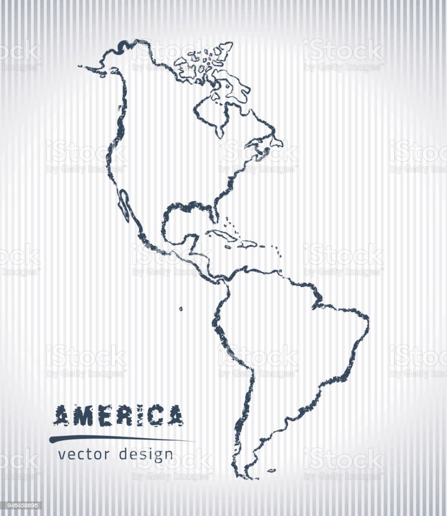 Map Of America Drawing.America National Vector Drawing Map On White Background Stock