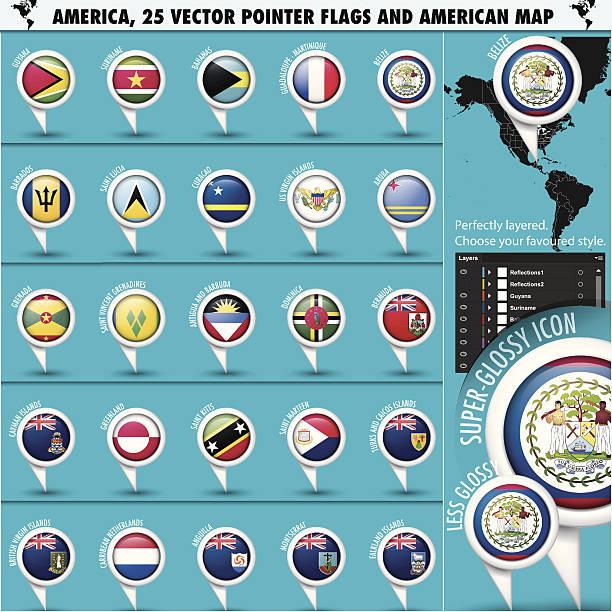 bildbanksillustrationer, clip art samt tecknat material och ikoner med america pointer flag icons with american map set2 - lucia